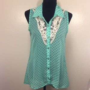 🔥6/$25 Grass Co. Mint Polka Dot Lace Top